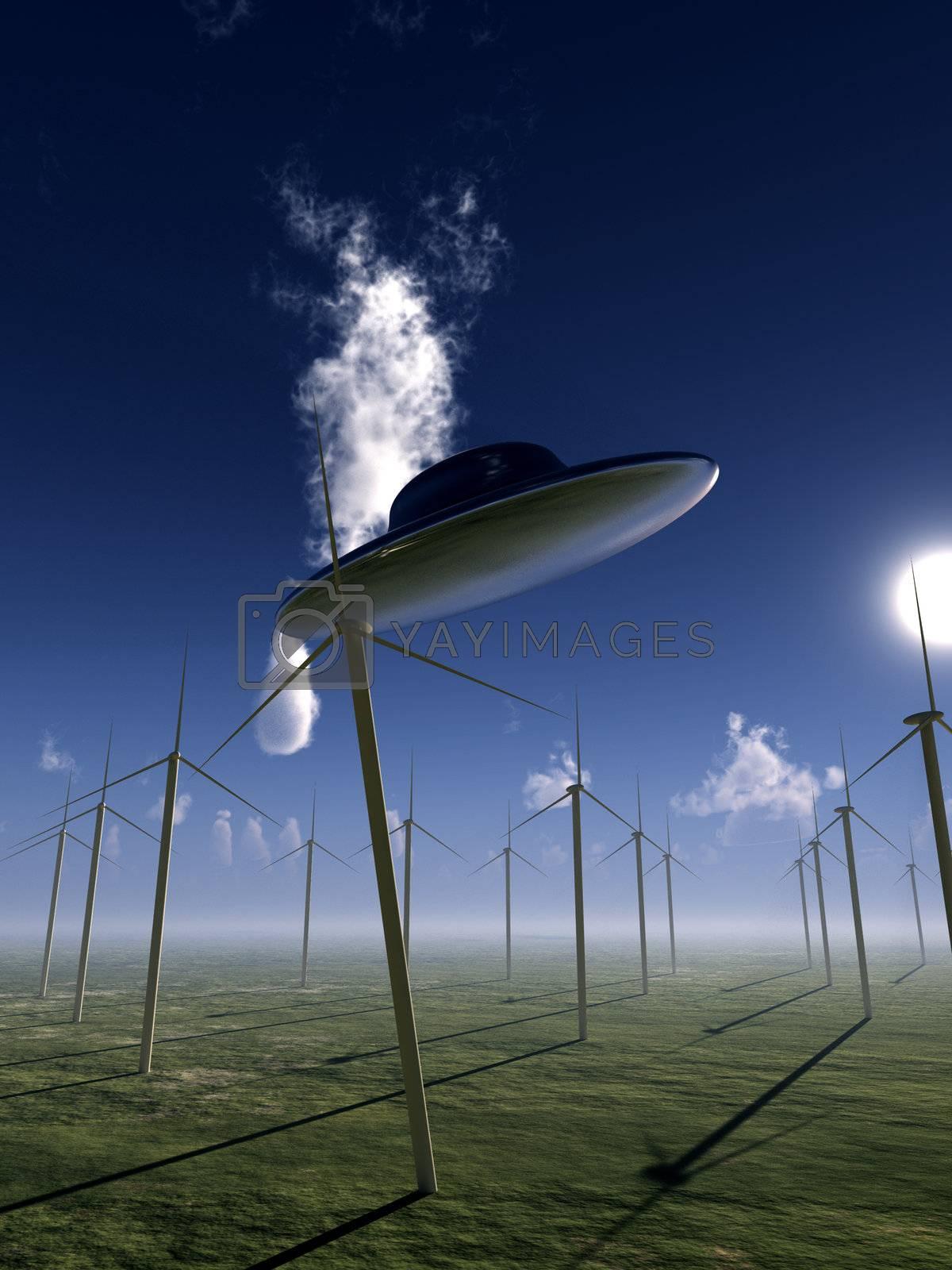 Royalty free image of UFO And Wind Turbine  by harveysart