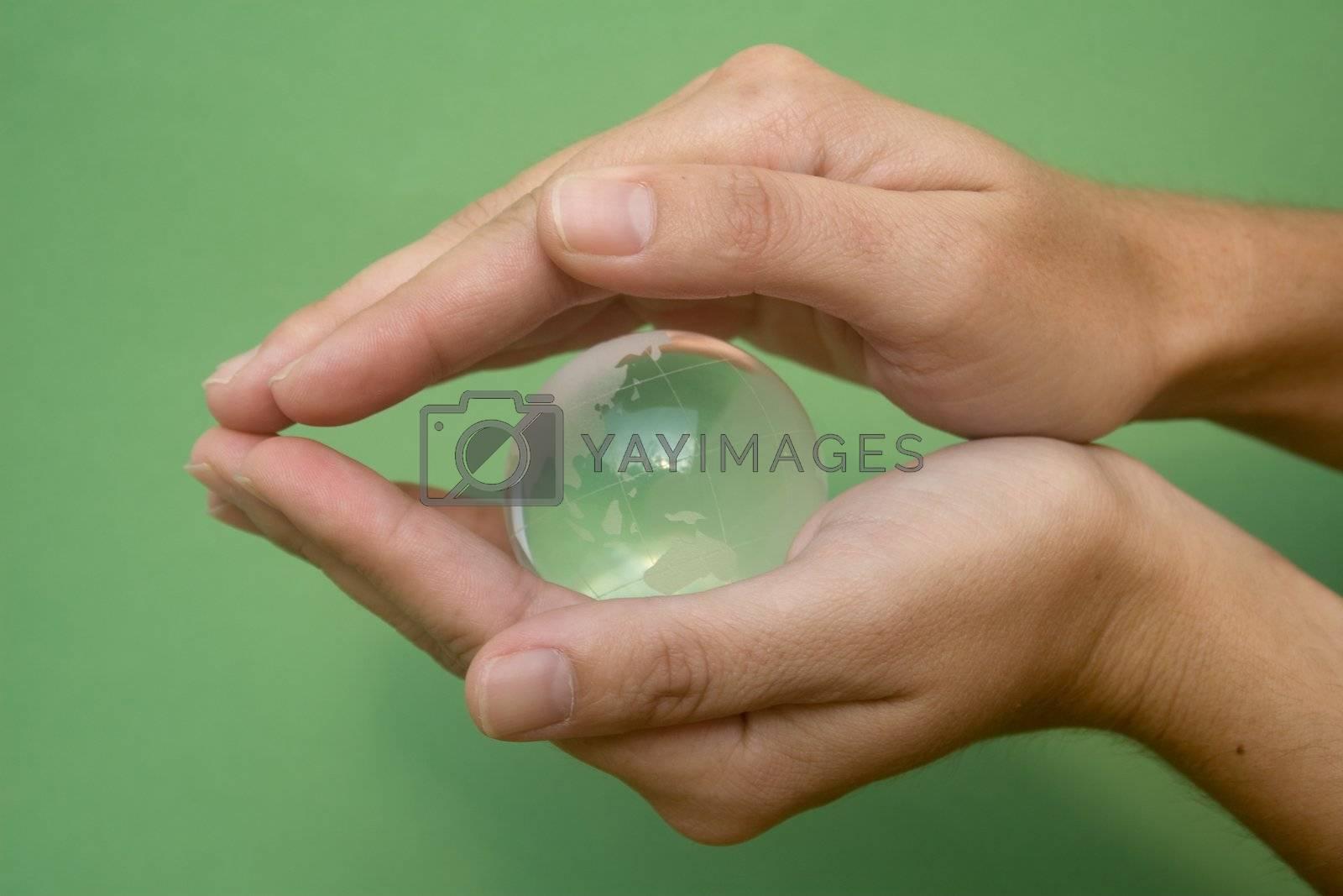 Hands sheltering globe shot against a green background