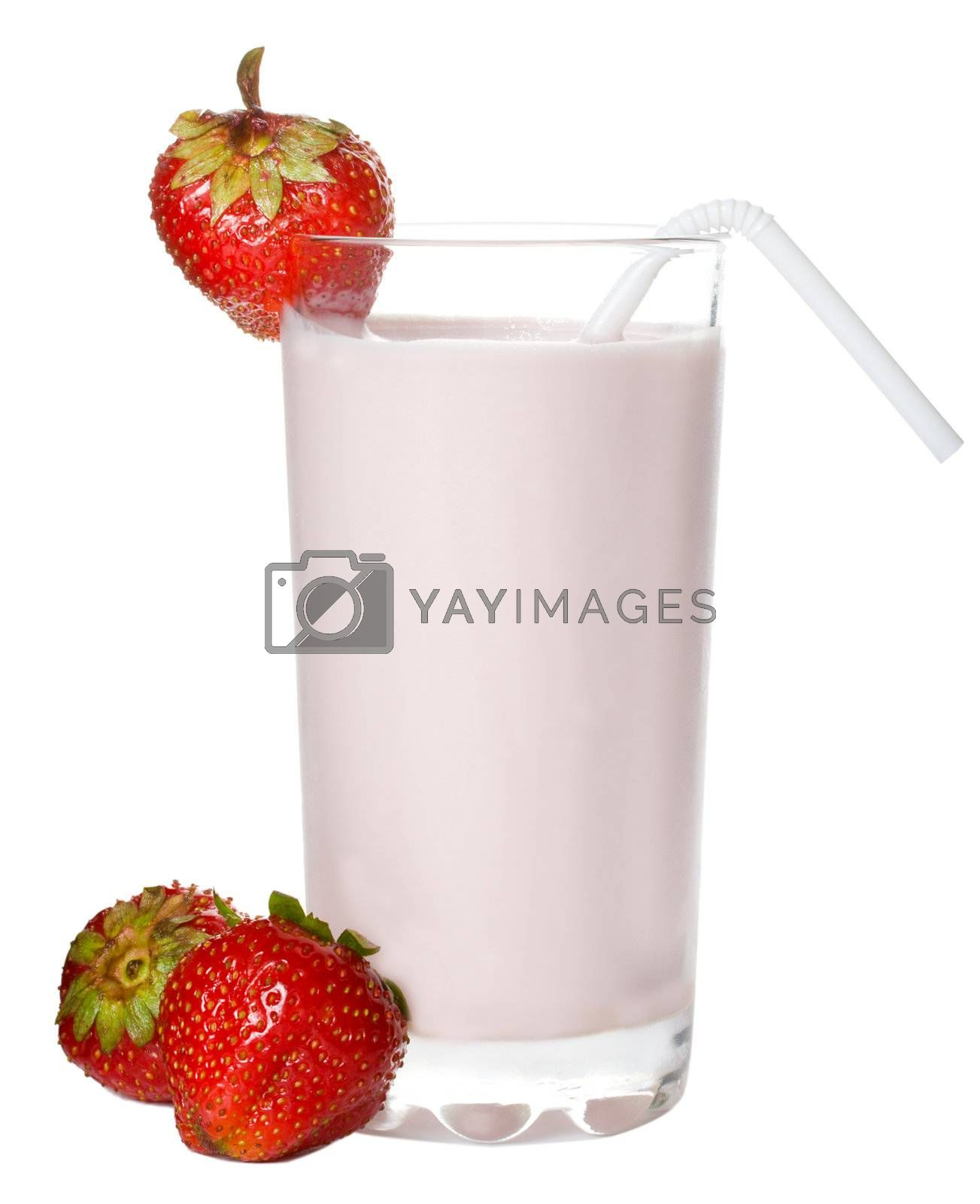close-up fresh strawberry milkshake, isolated on white