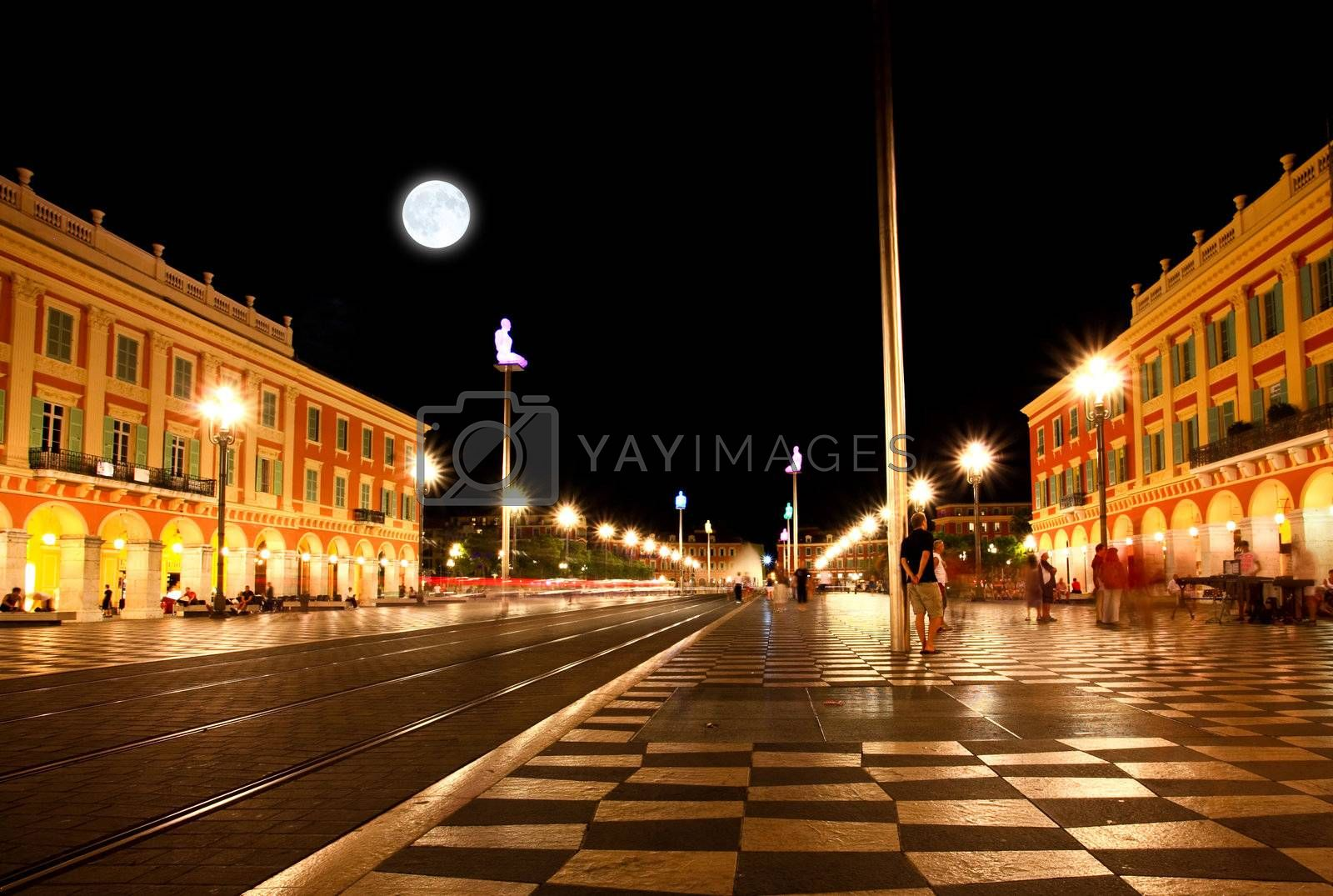 The Plaza Massena Square at night in Nice France