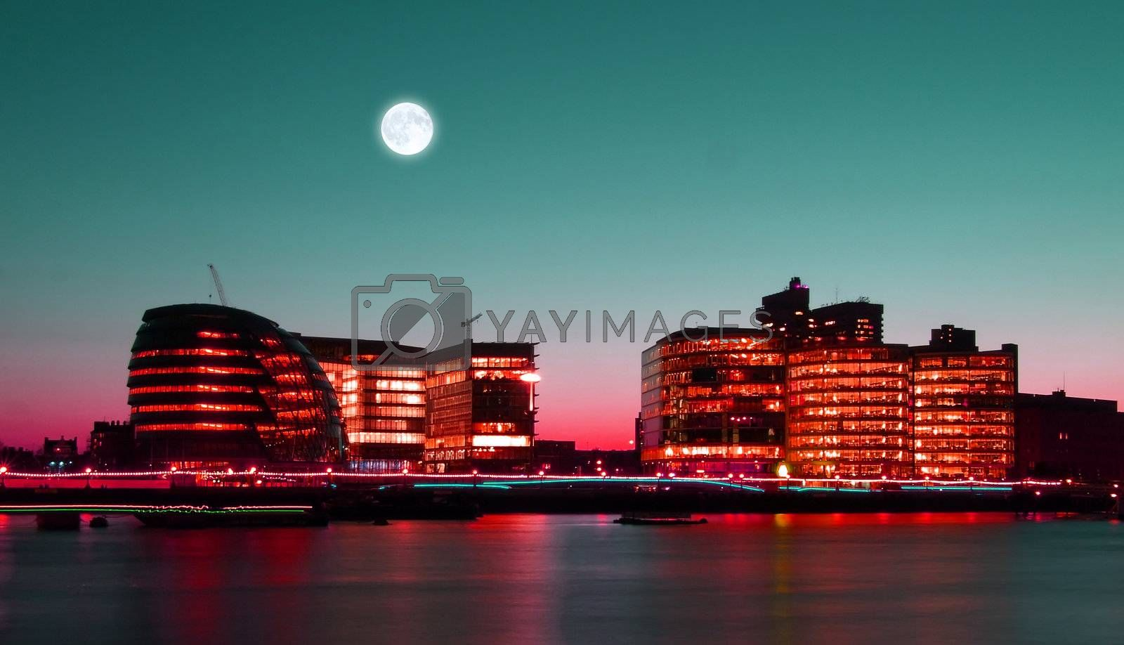 Office buildings on the bank of Thames River
