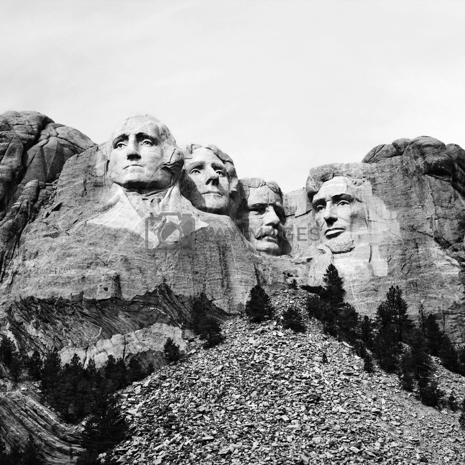 Black and white of Mount Rushmore National Monument, South Dakota.