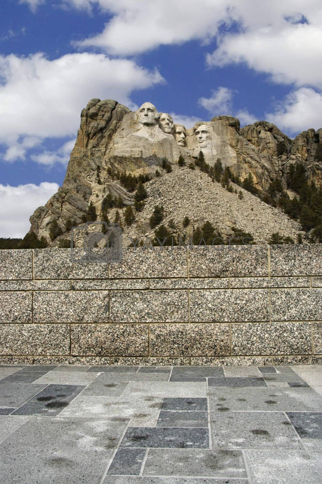 Mount Rushmore National Monument, South Dakota, seen from a distance.