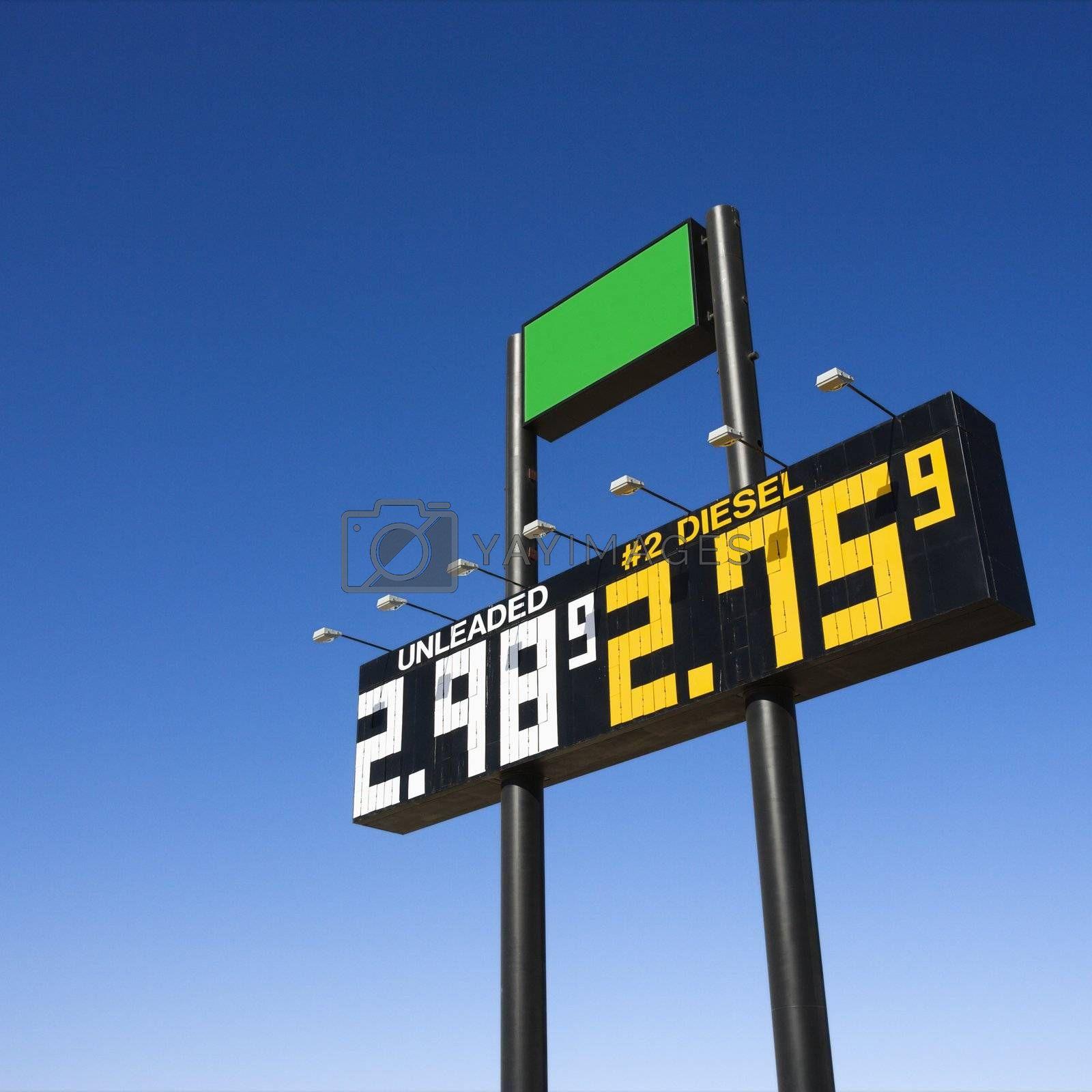 Sign displaying gasoline prices.