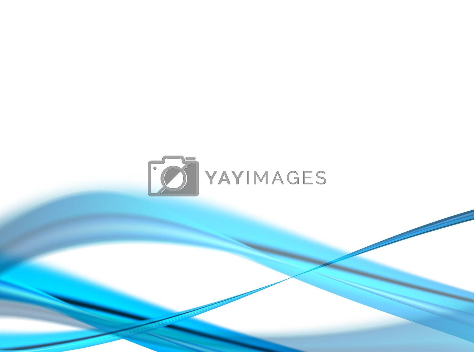 blue dynamic waves on white background, abstract illustration