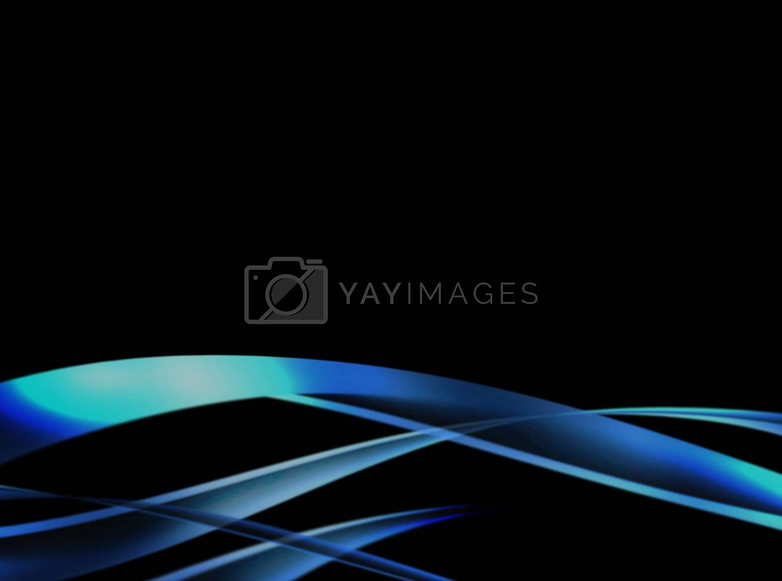 blue waves on black background, abstract design