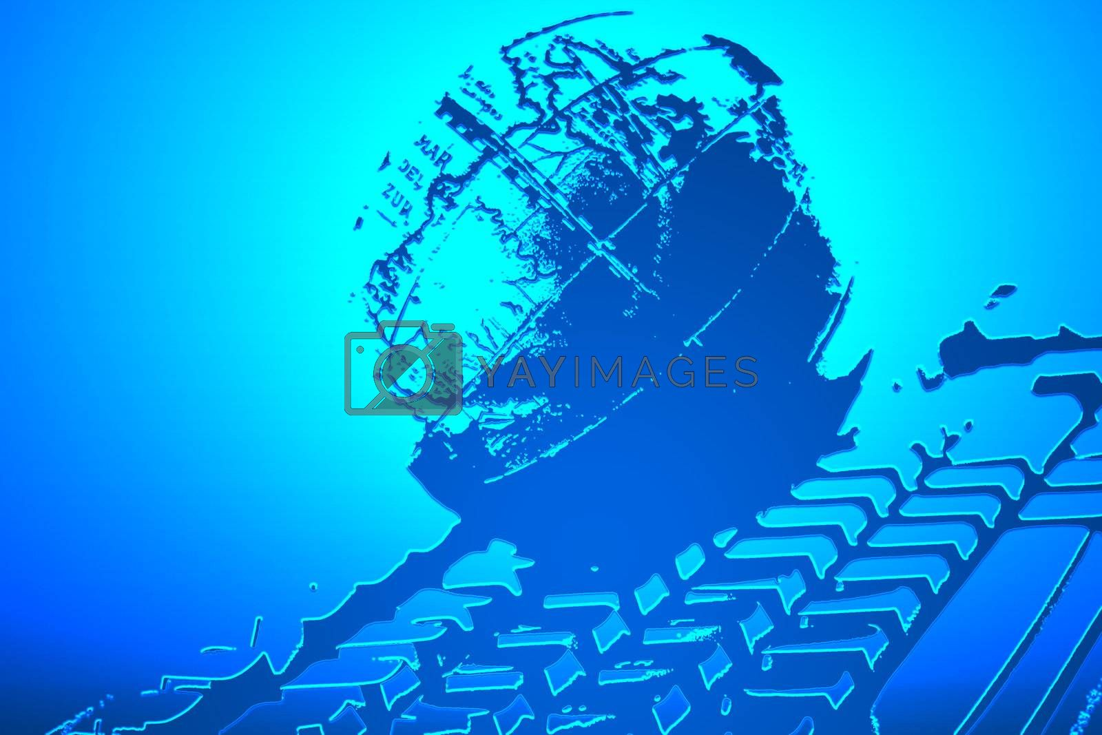 world and keyboard on blue color, illustration