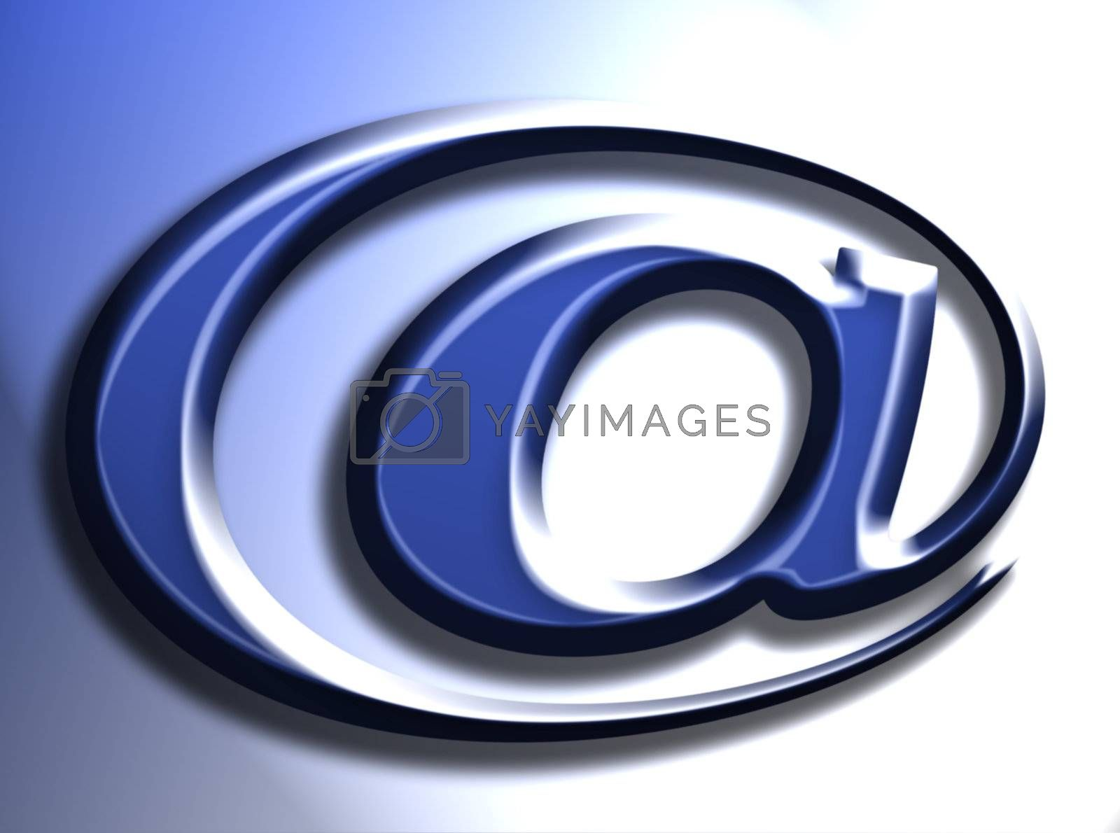 email representation on blue background, computer generated image