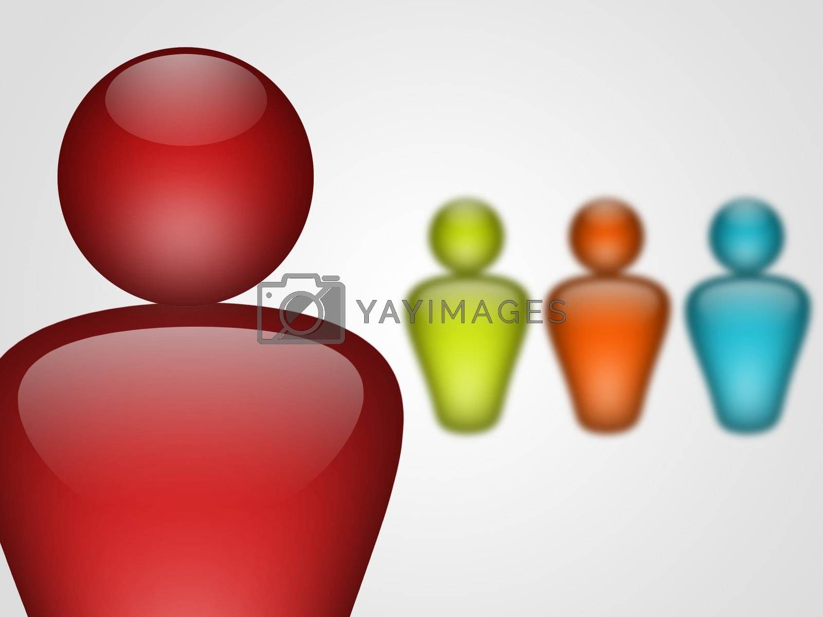 representation of people with different colors on white background