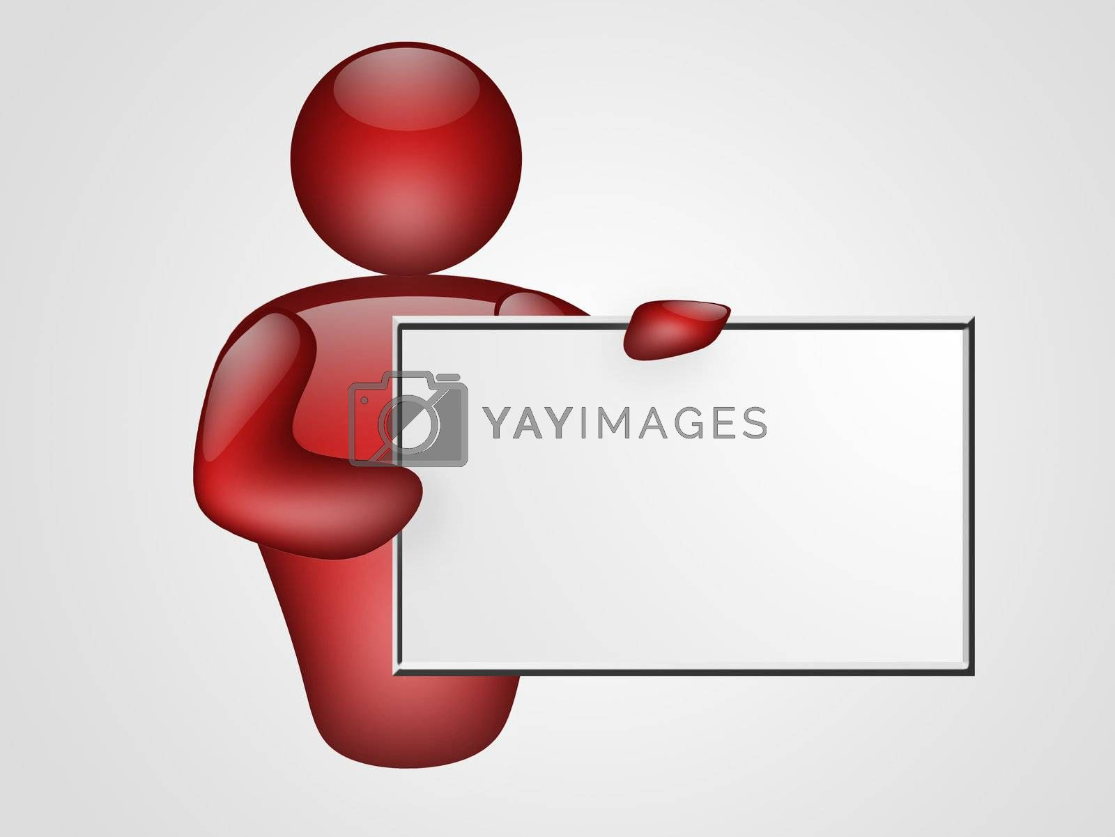 red representation of person with blank board