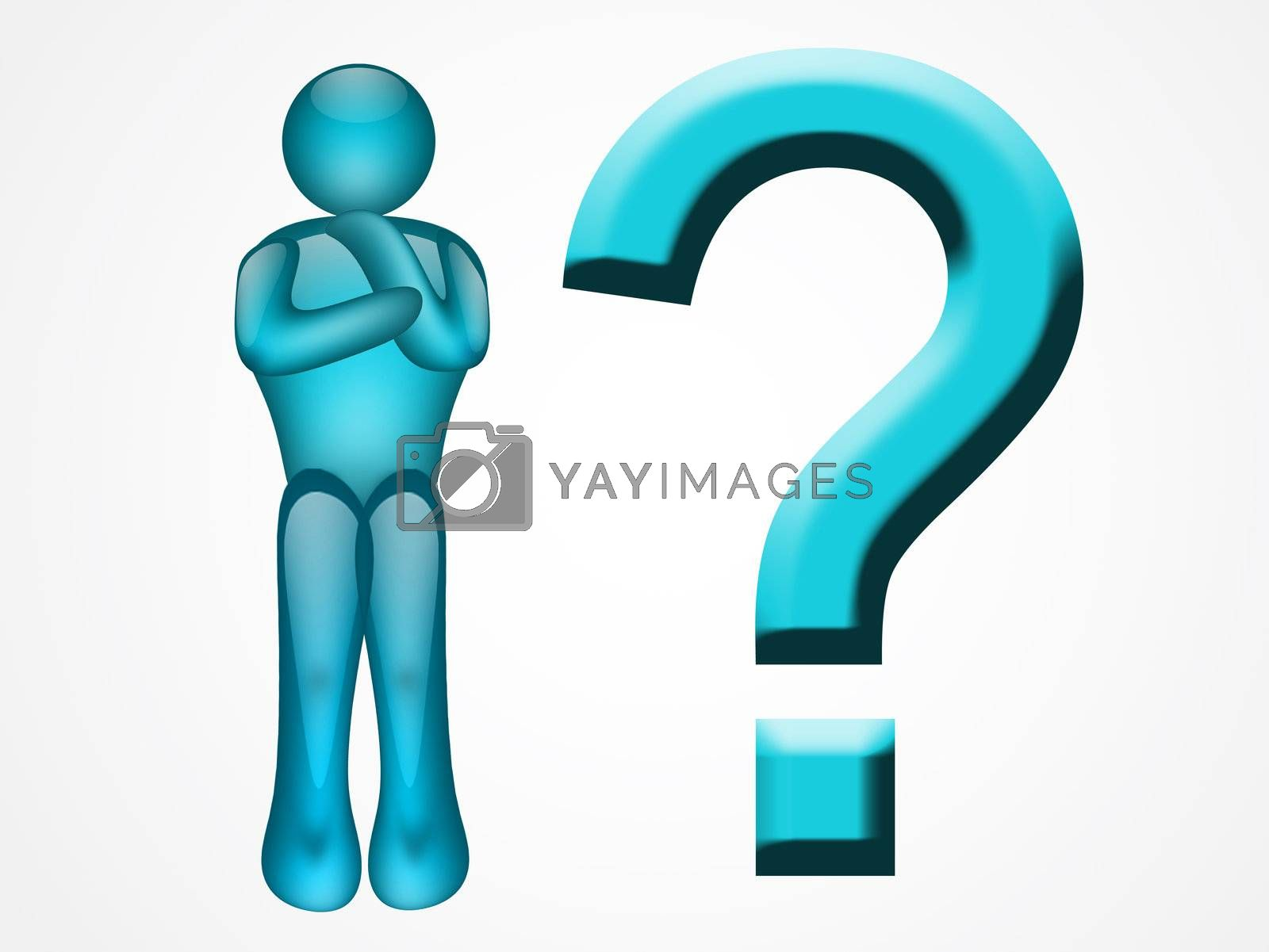 blue illustration of single man and question sign