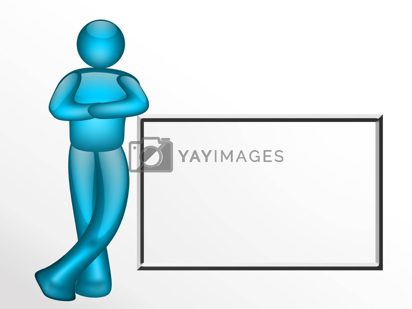 blue person with board on white background