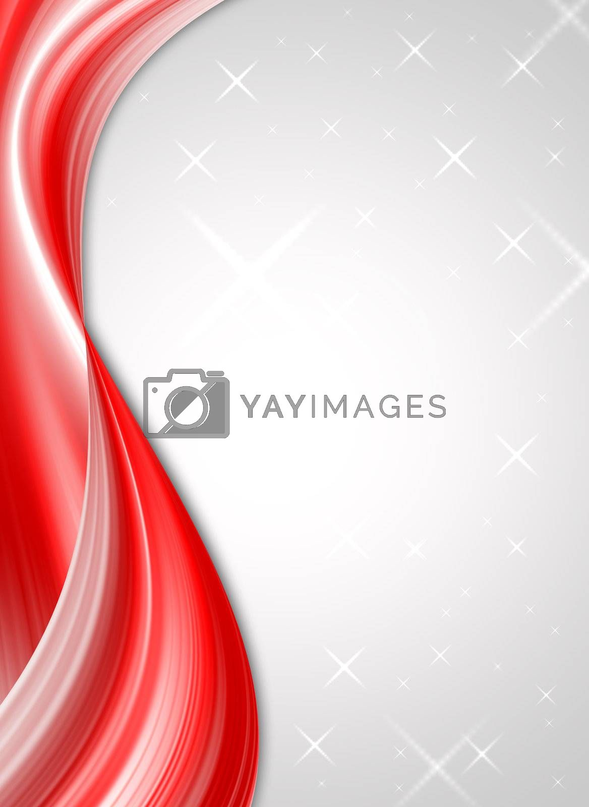 red waves design on grey background with stars