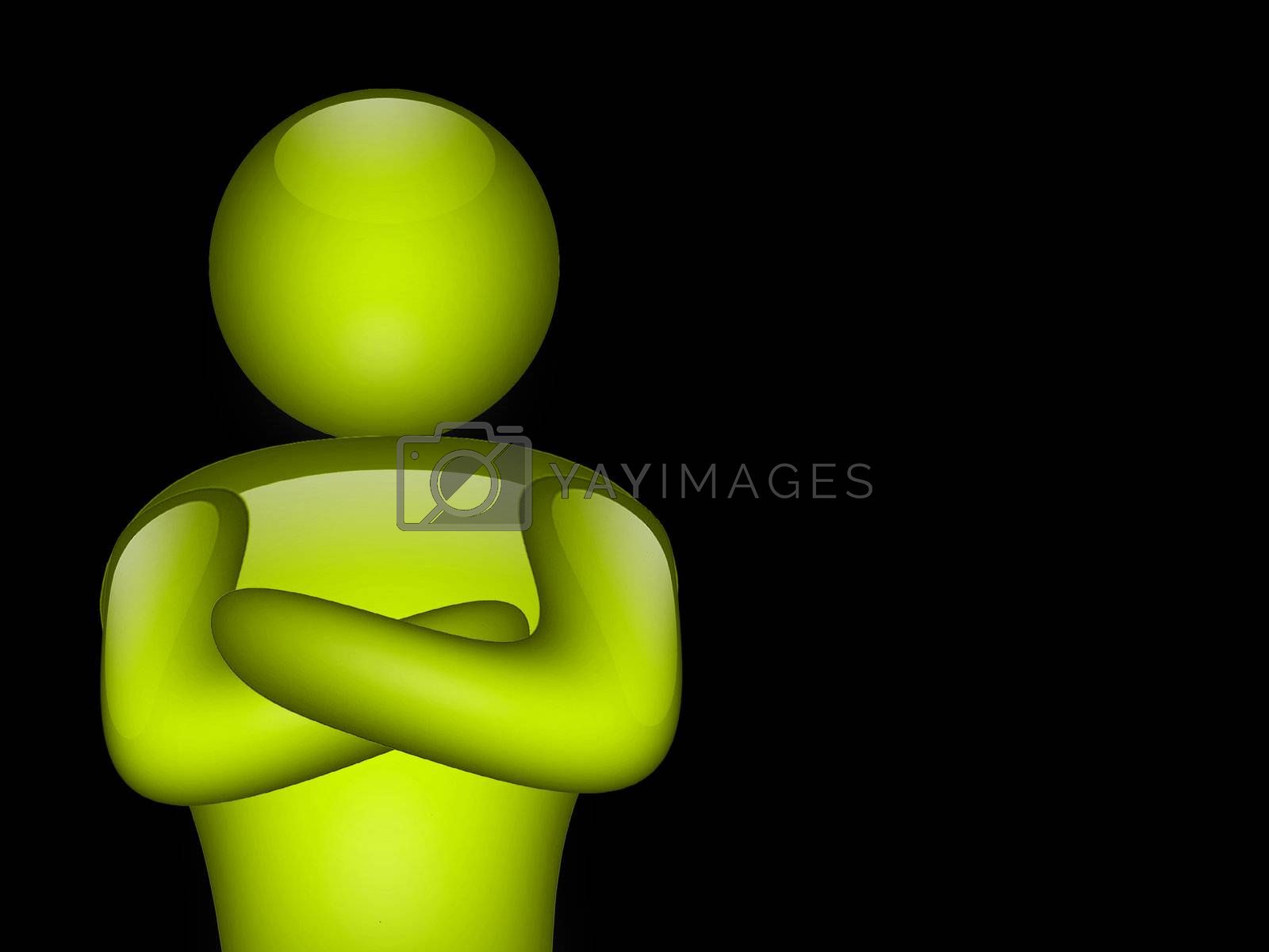 green man on black background