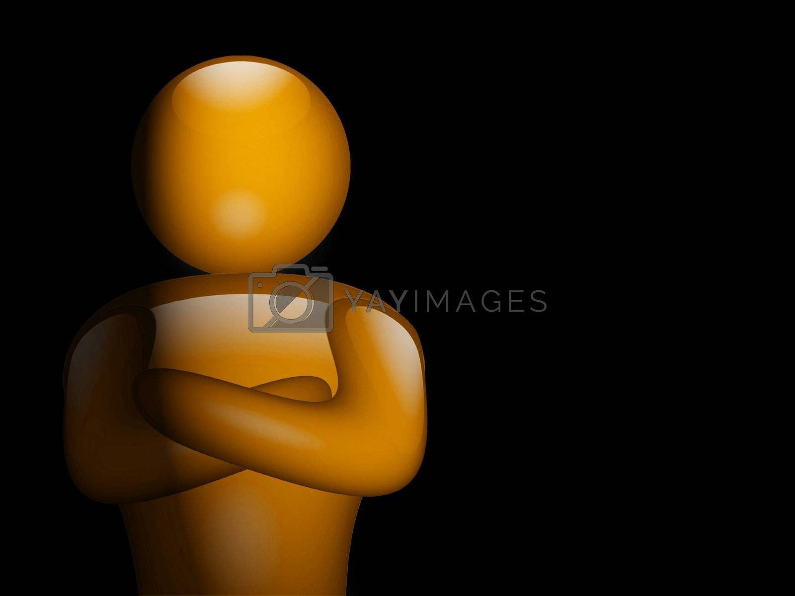 illustration of person on black background with light