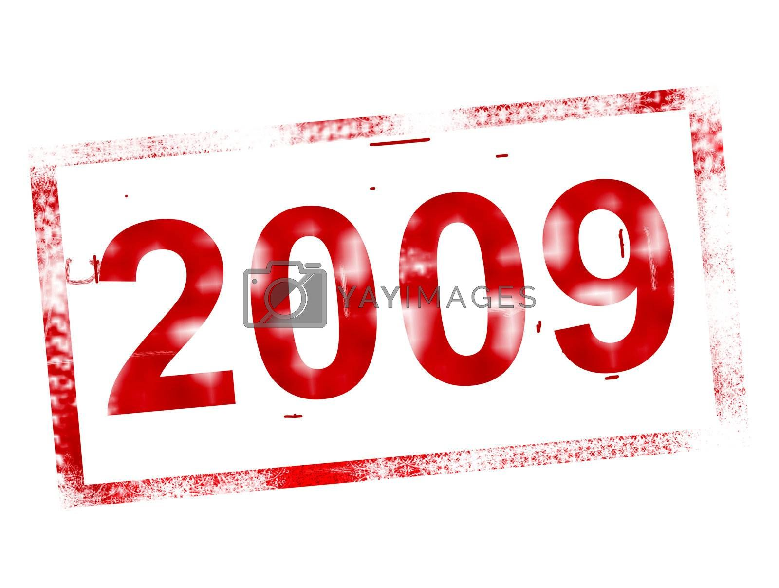 red 2009  new year stamp
