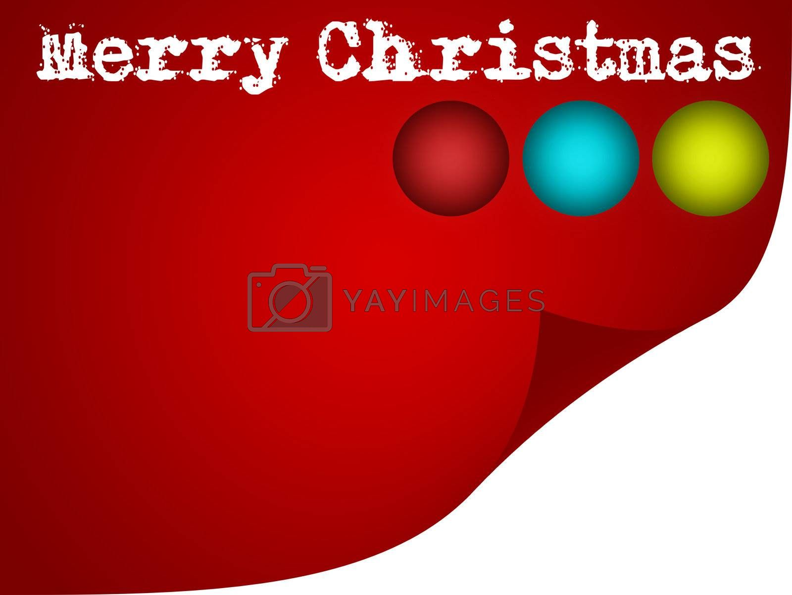 red merry christmas card, illustration