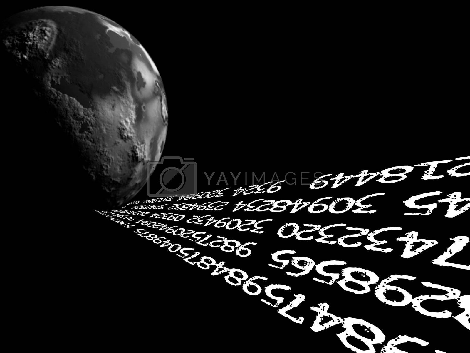 black background, with planet and numbers