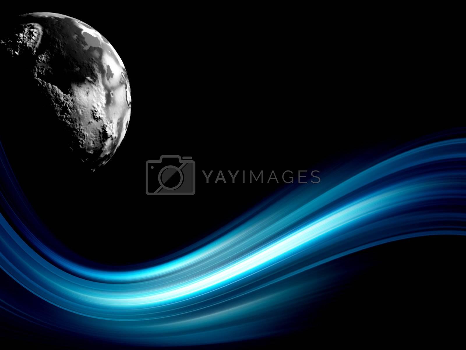 blue wave on black background
