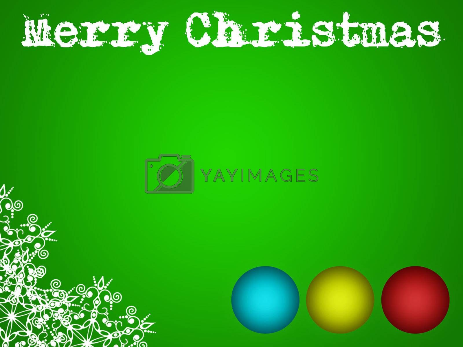 merry christmas card illustration with balls