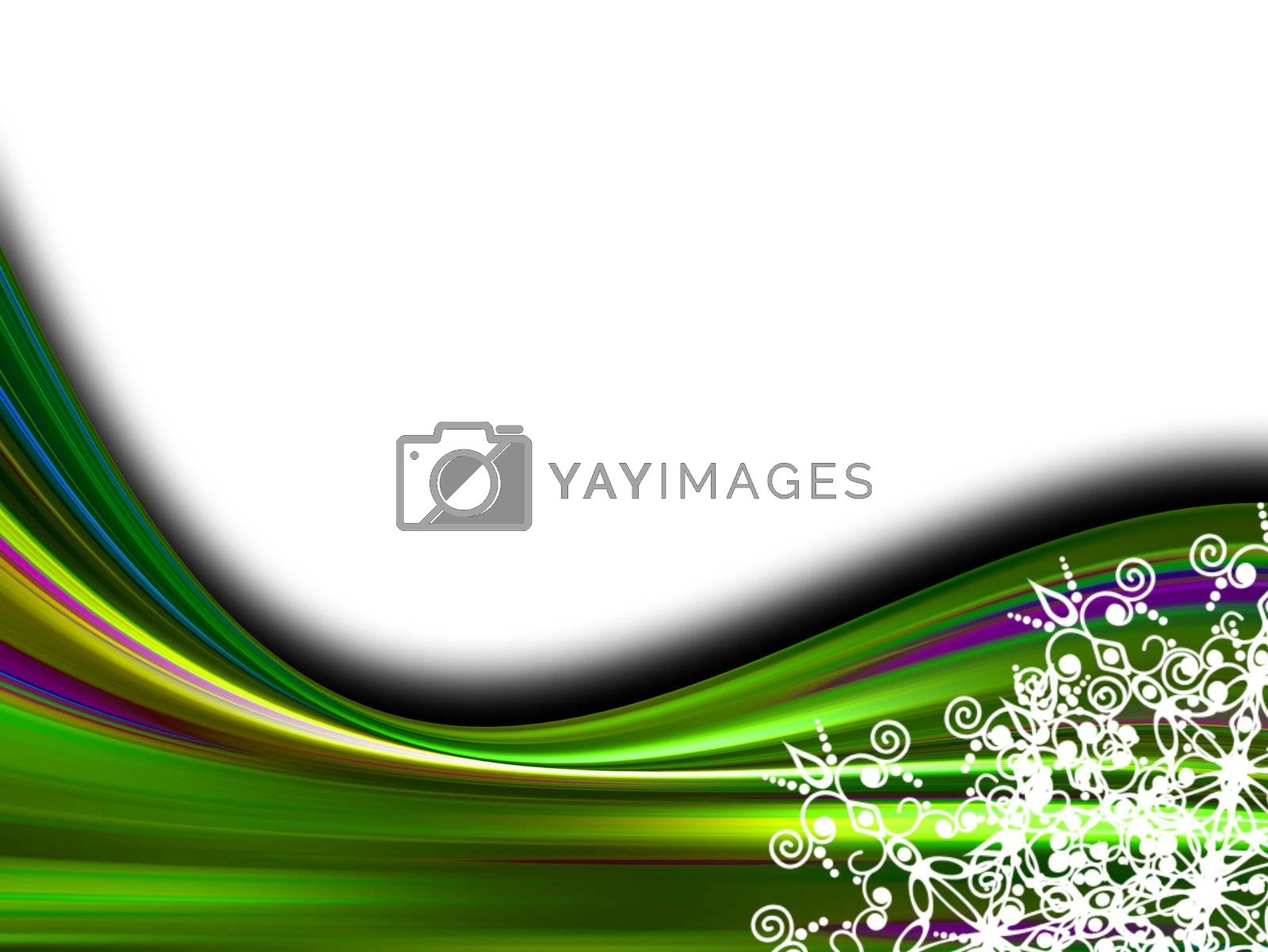 green waves on white background