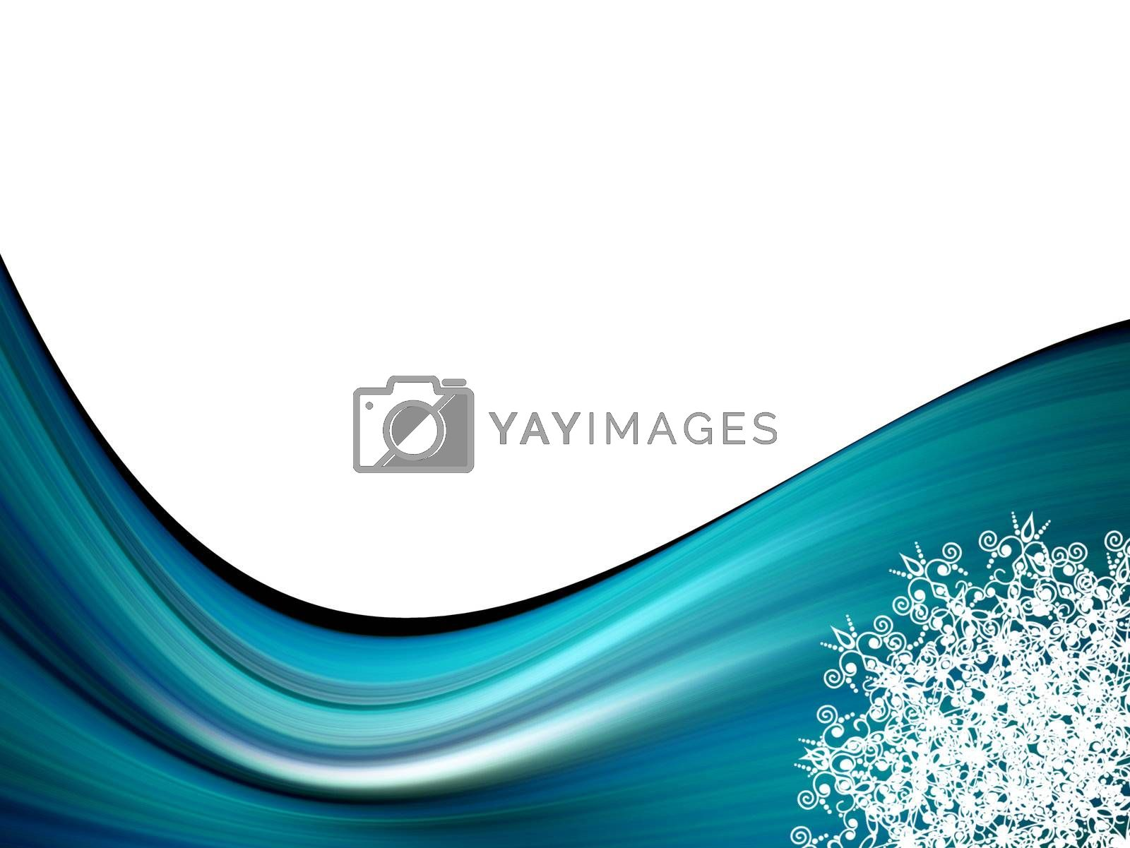 blue dynamic waves with ornament