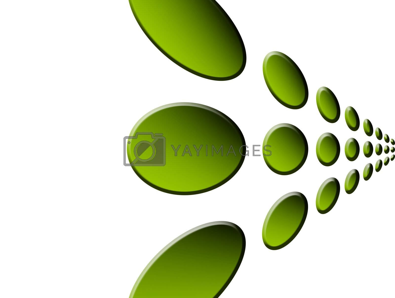 green points on white background, dynamic illustration