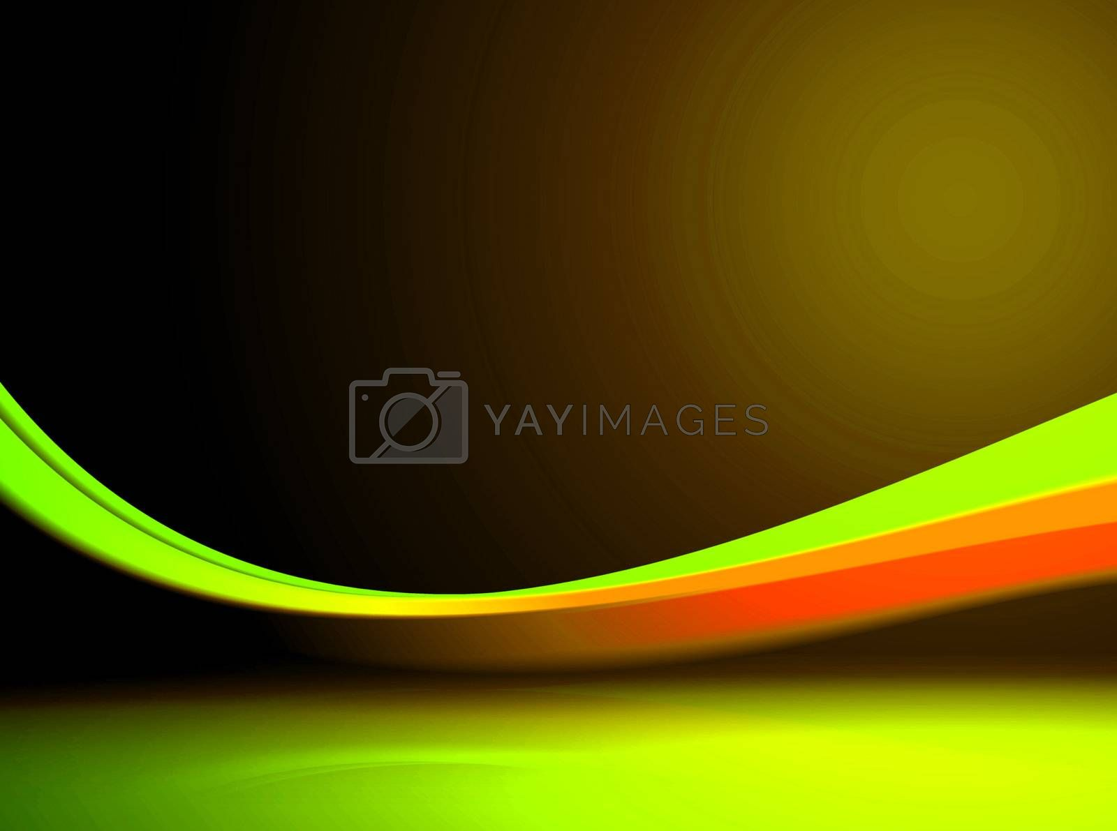 green wave with 3d effect