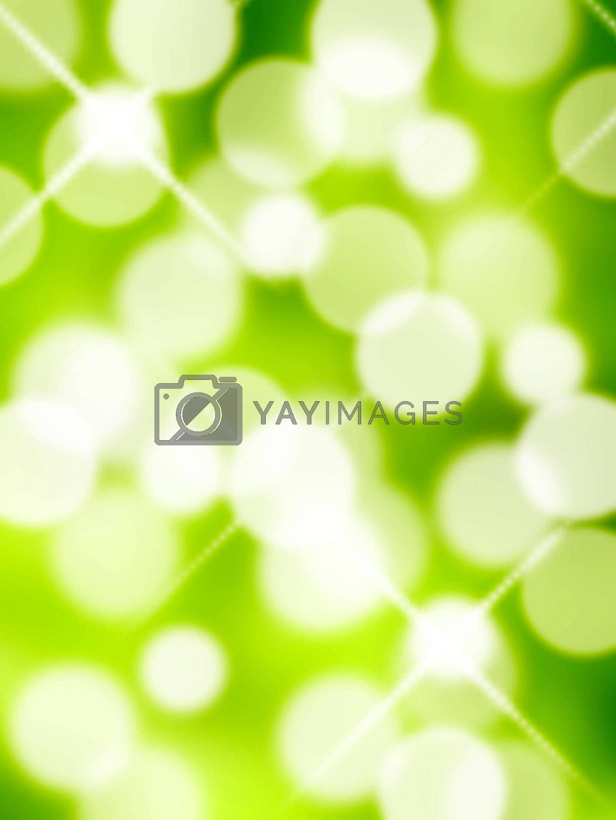 white lights on green background