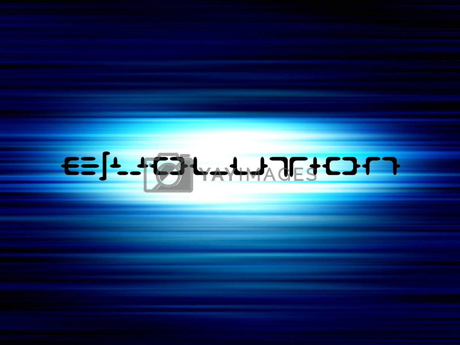 evolution text on bllue background