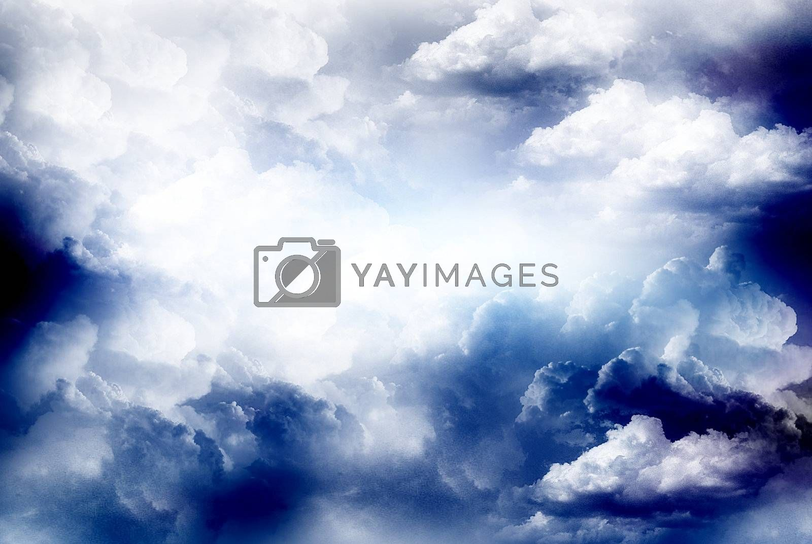 blue sky illustration, clouds design