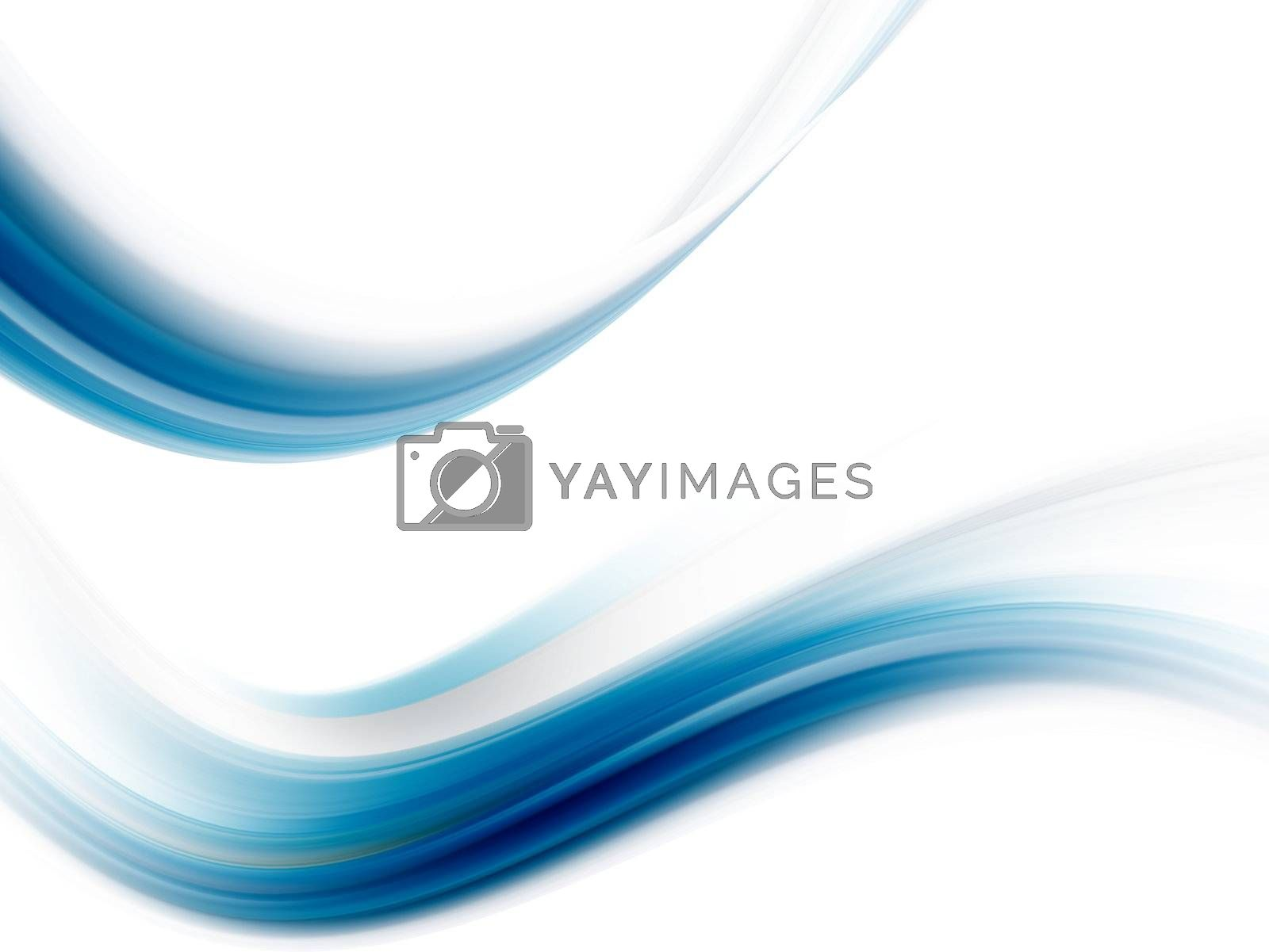 blue wave with soft effect on white background
