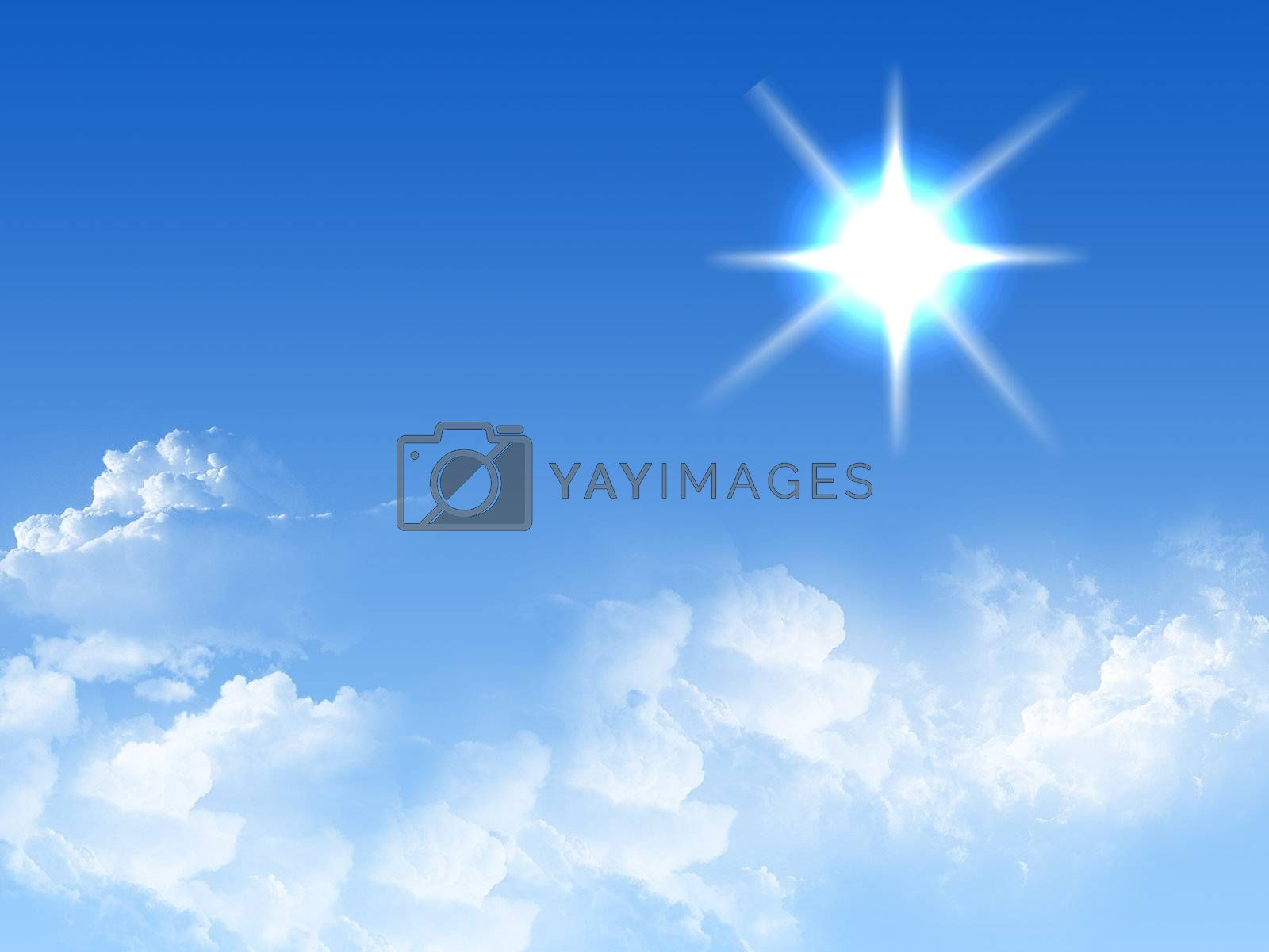 blue and white sky illustration, brigth effect