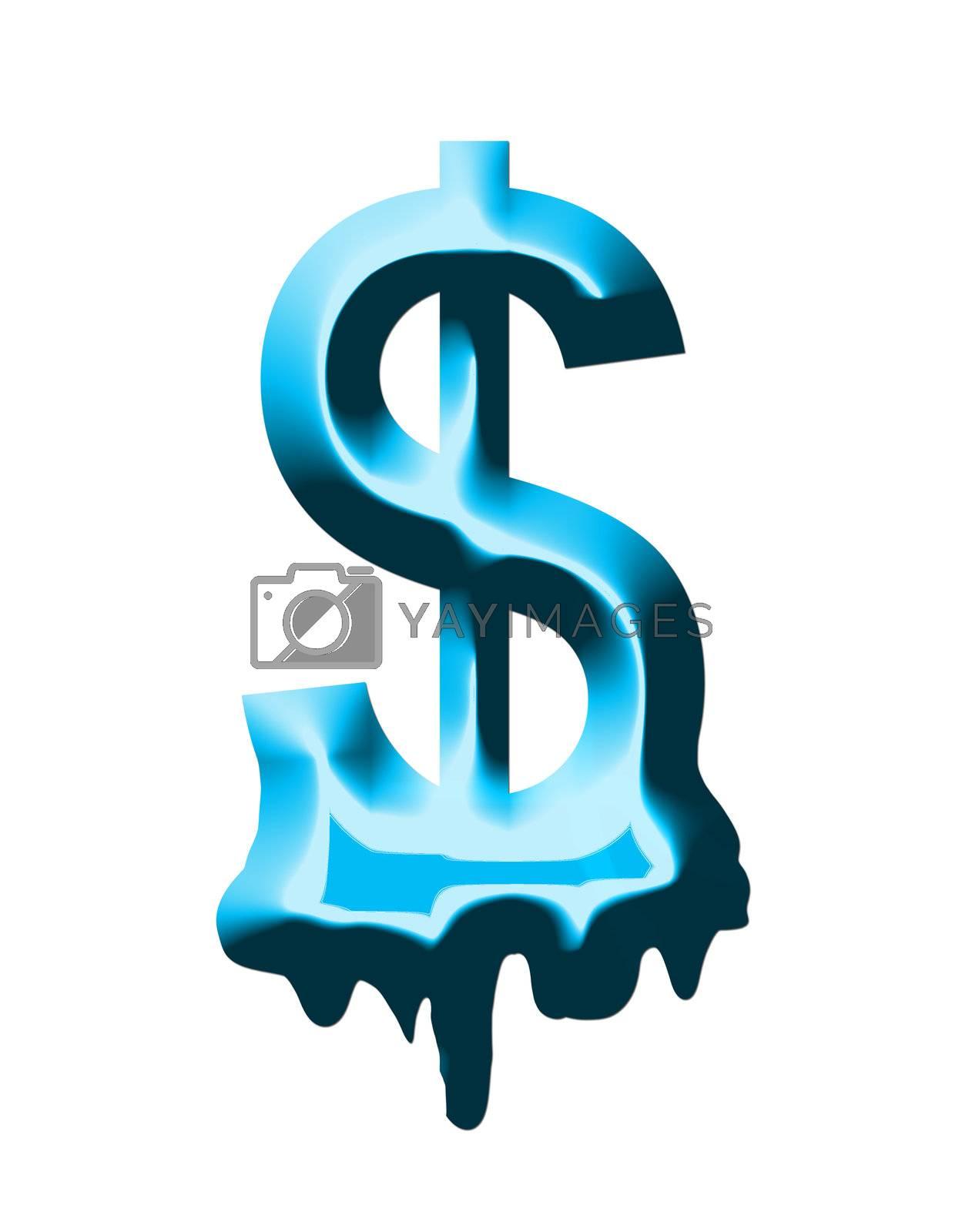 money blue sign on white background to melt