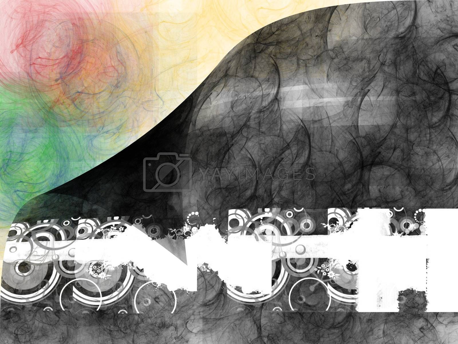 abstract design with black, white, red, green, and orange colors
