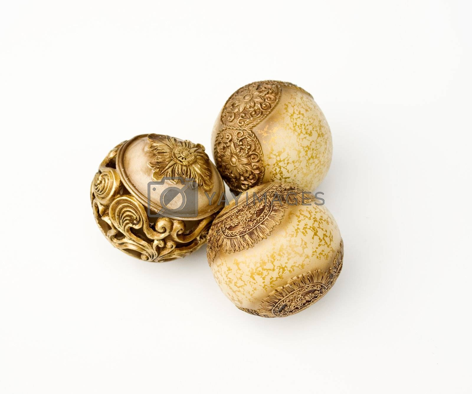 gold classic spheres on white background. decorative elements