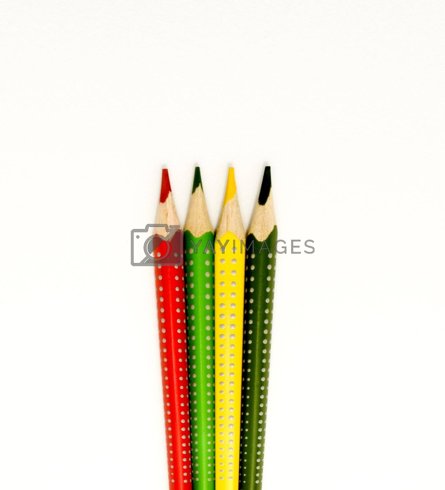 colors, yellow, green, orange, red and blue on white background