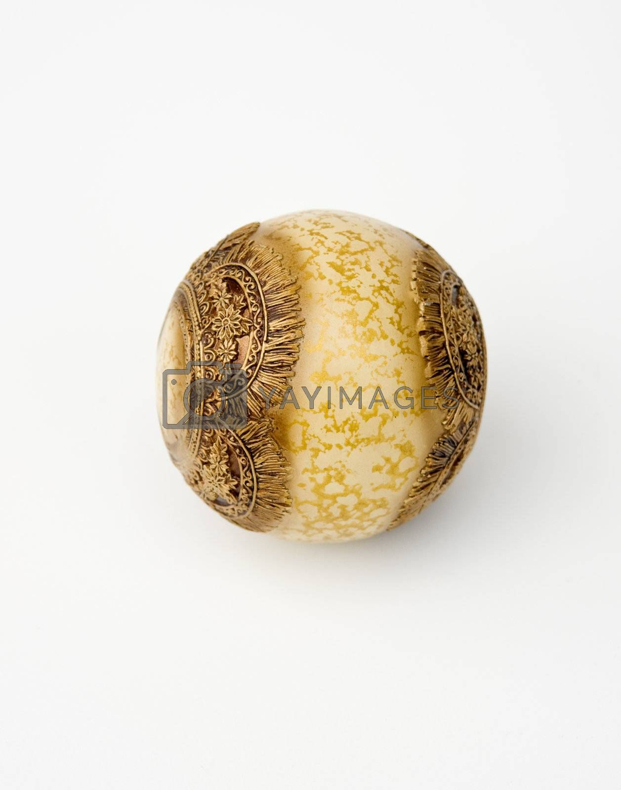 ball ornament whit gold texture on white background