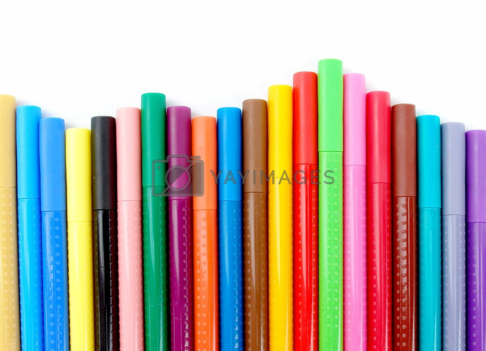 bookmark lines with red, green, blue, black and orange colors on white background