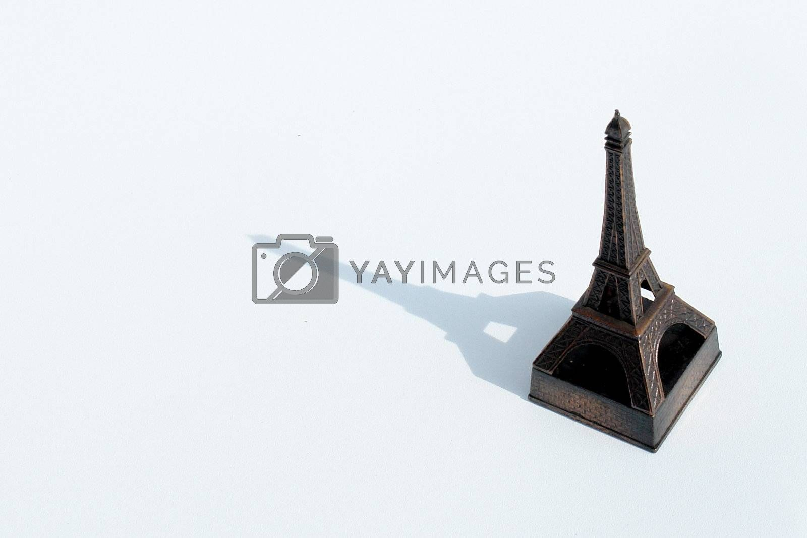eiffel tower on white background with shadow