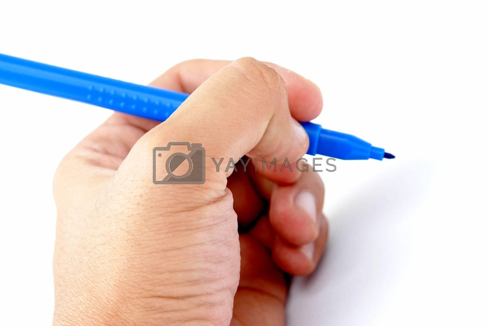 hand writting on white background,  blue bookmark