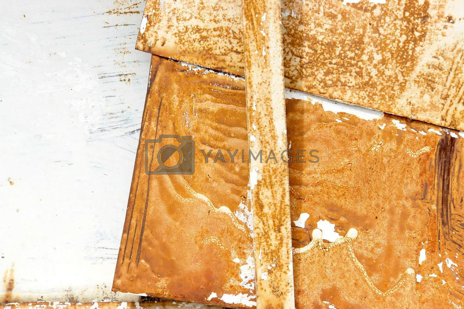 old and deserted metal on white background