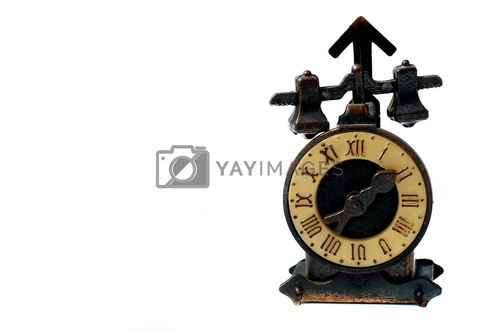 old clock machine on white background with roman numbers