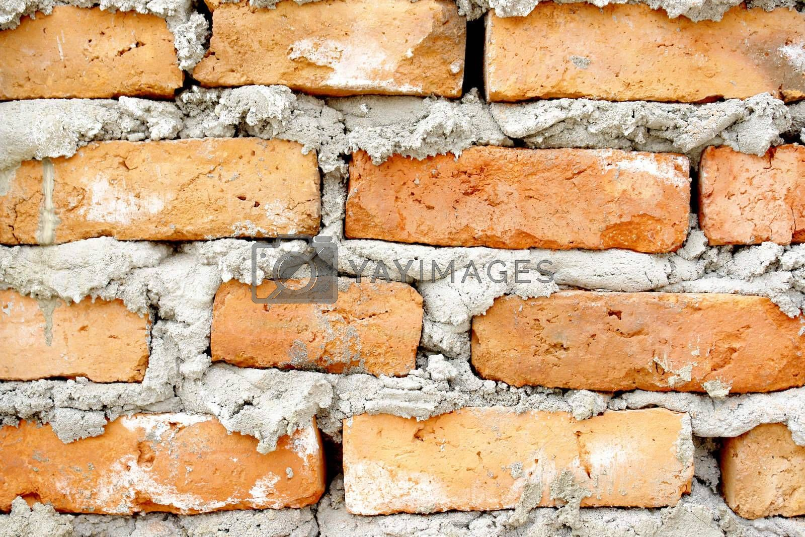 old brick structure with concret, grafitti background