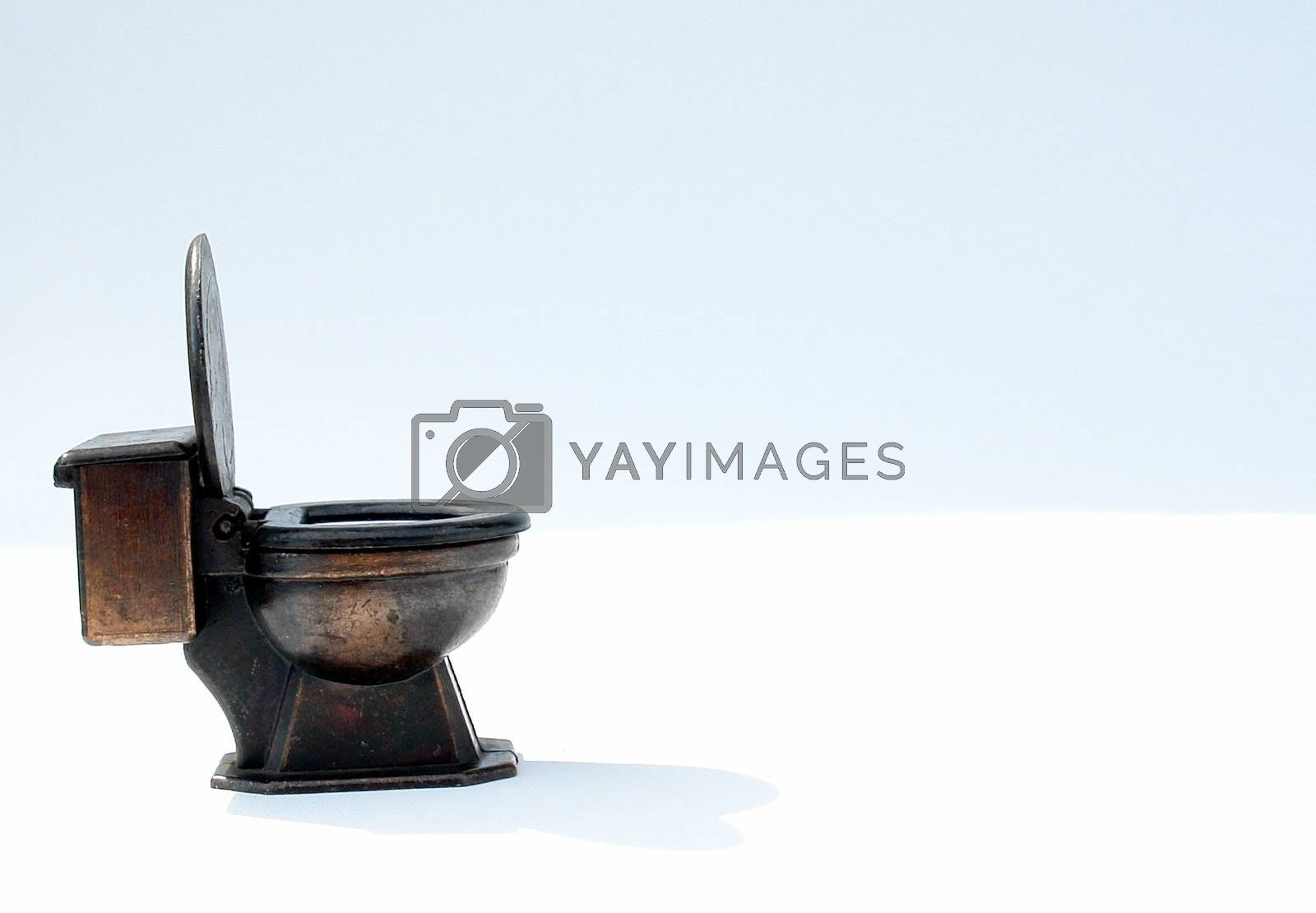 old toilet on white background, isolated image
