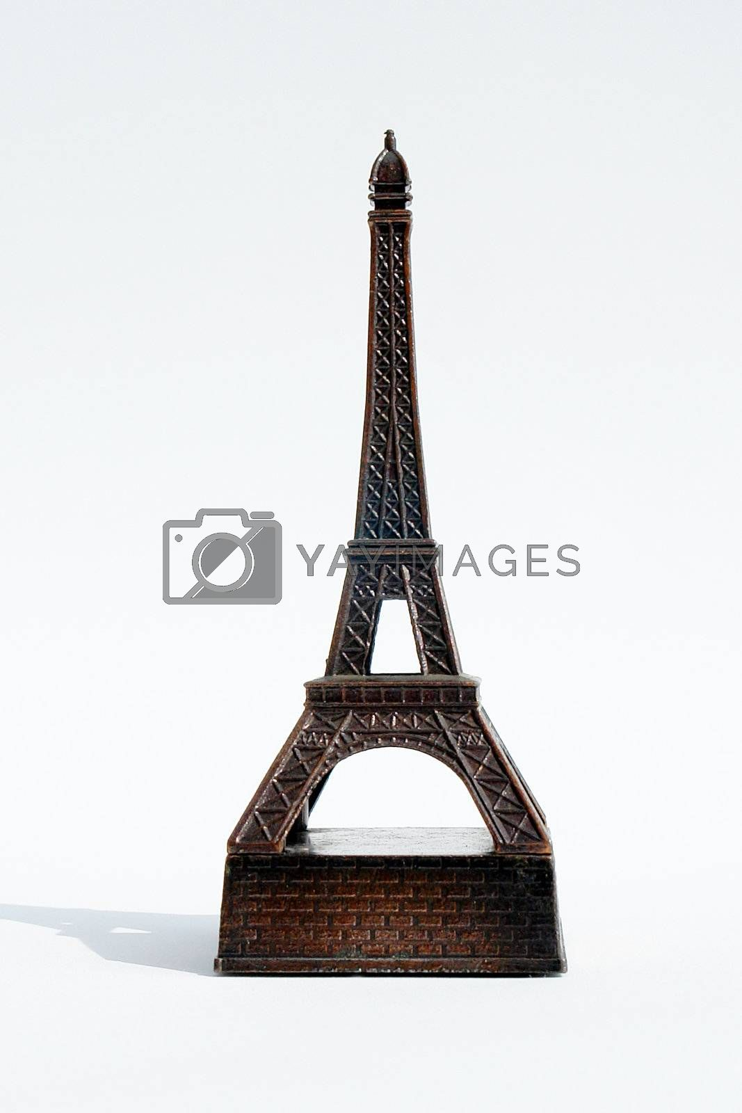 front of eiffel tower with shadow on white background