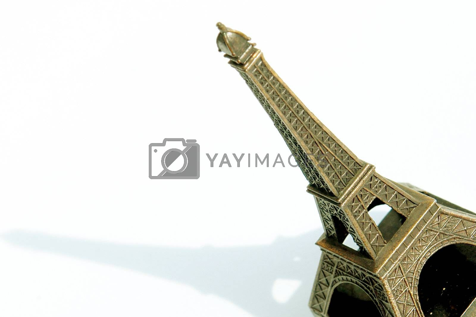 eiffel tower with shadow on white background