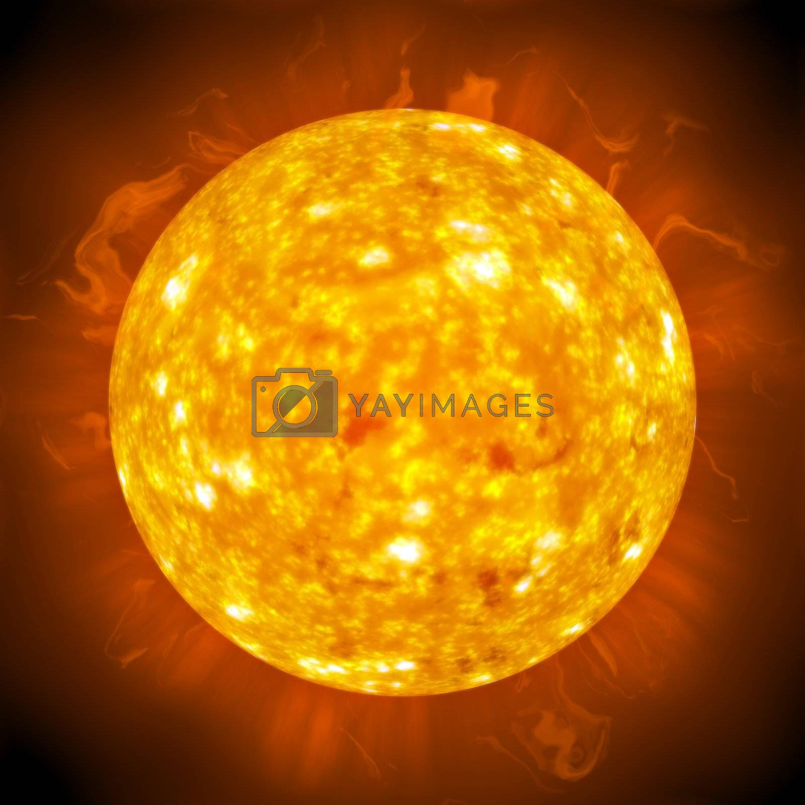 Burning ball of fire.  A great 3D illustration of the sun.