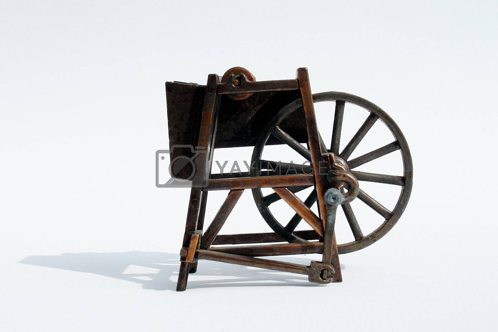 old bronze machine on white background, metal structure