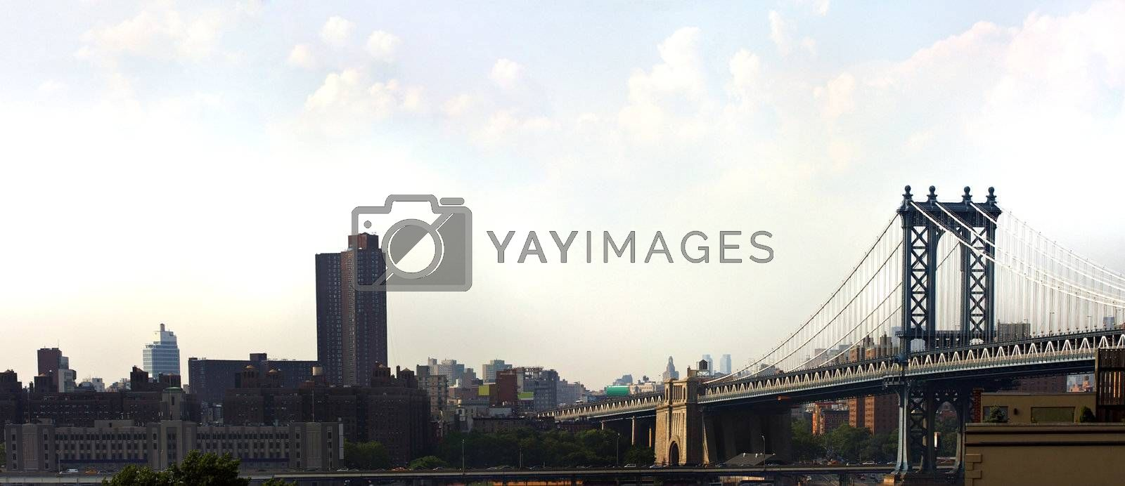 The famous and historic Manhattan Bridge located in New York City.